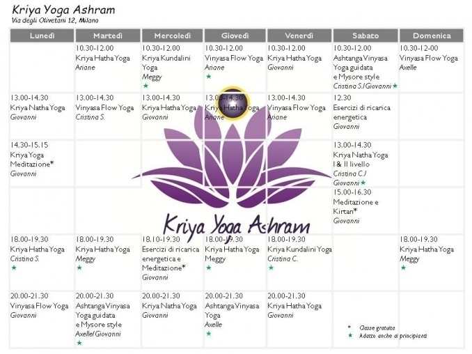 Classes schedule - Kriya Yoga Ashram